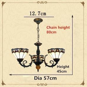 Vintage Baroque Stained Glass Chandelier-Decorative Chandelier-3 Lights-Khadiza Electricals
