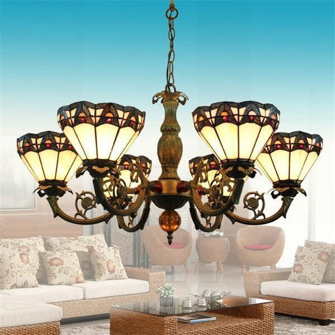 Vintage Baroque Stained Glass Chandelier