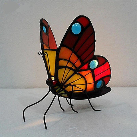 Butterfly Stained Glass non-electric Night Lamp-Decorative Night Lamp-White-Khadiza Electricals