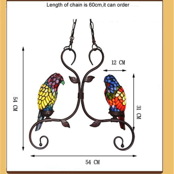 Parrot Stained Glass Pendant Light-Decorative Pendant Lamp-2 heads-Khadiza Electricals