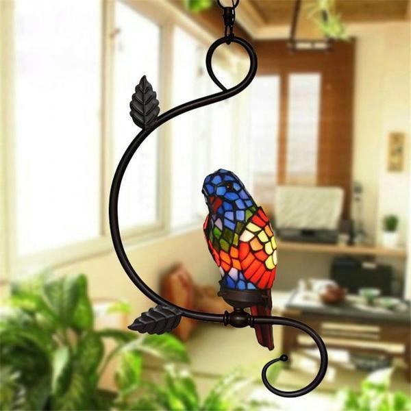 Parrot Stained Glass Pendant Light-Decorative Pendant Lamp-1 head red-Khadiza Electricals