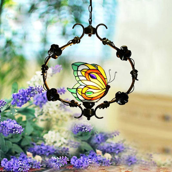 Butterfly Stained Glass Pendant Lamp-Decorative Pendant Lamp-Max 60W / 220V-240V-Khadiza Electricals