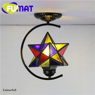 Diamond Star Stained Glass Ceiling Light-Decorative Chandelier-Colourfull / 6-10W / Warm White-Khadiza Electricals