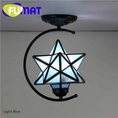 Diamond Star Stained Glass Ceiling Light-Decorative Chandelier-Light Blue / 6-10W / Warm White-Khadiza Electricals