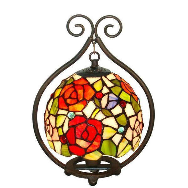Rose & Grape Stained Glass Table Lamp rose