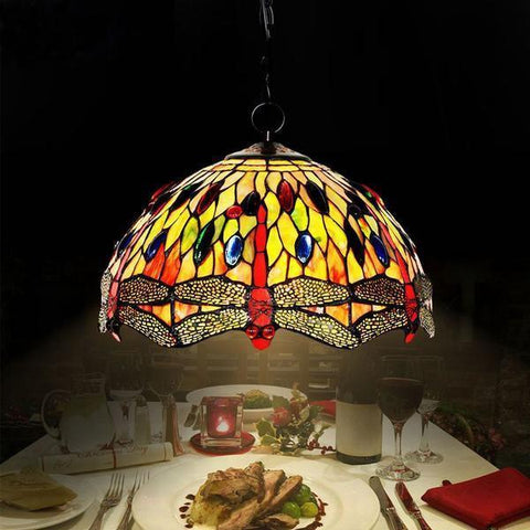 Dragonfly Stained Glass Pendant Lamp