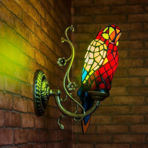 Parrot Shaped Glass Wall Lamp-Decorative Wall Lamp-Red-Khadiza Electricals