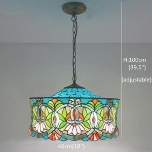 Blue Green Colored Stained Glass Pendant Lamp