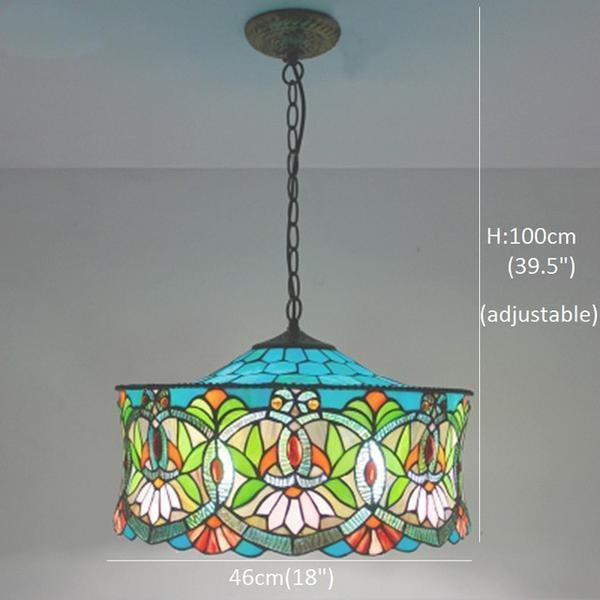 Blue & Green Colored Stained Glass pendant Lamp-Decorative Pendant Lamp-Downlight / Warm White-Khadiza Electricals