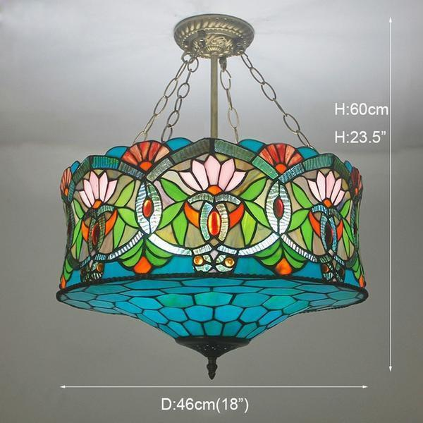 Blue & Green Colored Stained Glass pendant Lamp-Decorative Pendant Lamp-uplight / Warm White-Khadiza Electricals