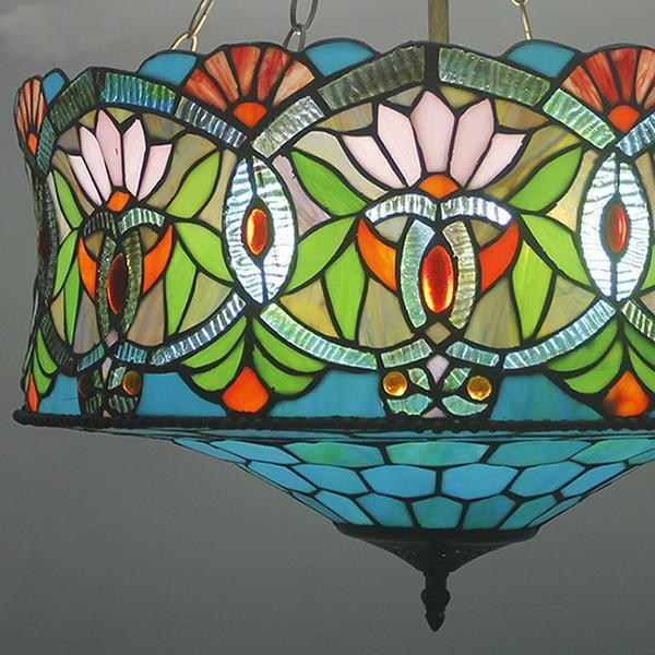 Blue & Green Colored Stained Glass pendant Lamp-Decorative Pendant Lamp-[variant_title]-Khadiza Electricals