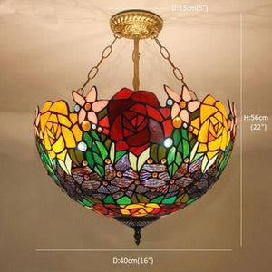 Stained Glass Hanging Lamp.Flower Rose Stained Glass Pendant Lights