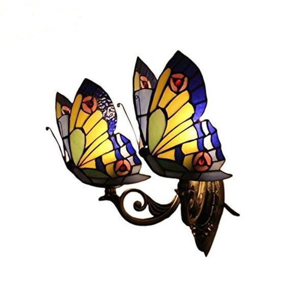 2 Butterfly Stained Glass Wall Lamp-Decorative Wall Lamp-Style - B / 0-5W-Khadiza Electricals