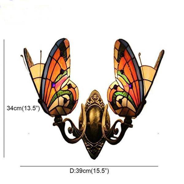 2 Butterfly Stained Glass Wall Lamp-Decorative Wall Lamp-Style - A / 0-5W-Khadiza Electricals
