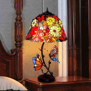 Butterfly Stained Glass Table Lamp-Decorative Table Lamp-[variant_title]-Khadiza Electricals