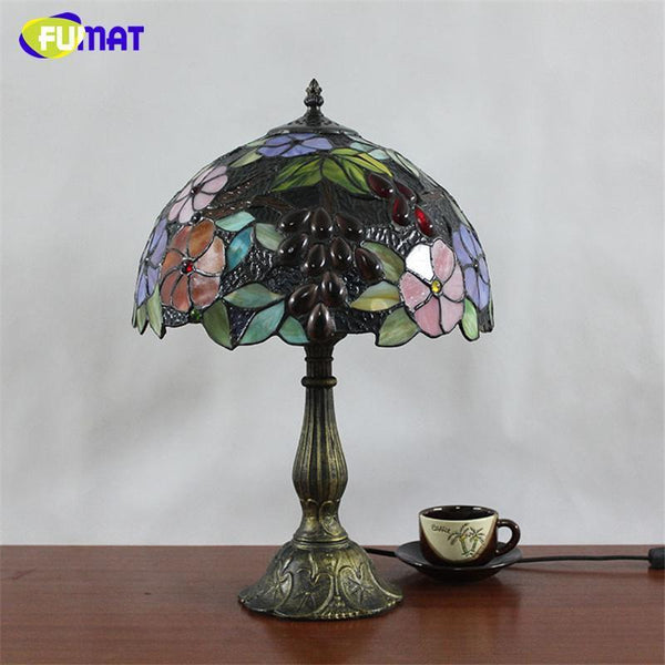 Flower Stained Glass Table Lamp-Decorative Table Lamp-[variant_title]-Khadiza Electricals