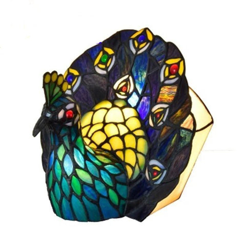 Peacock Bird's Nest Styled Stained Glass Table Lamp Peacock