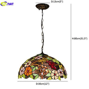 Grape & Flower Stained Glass Pendant Lamp