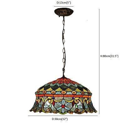 Flower shaped Stained Glass pendant lamp uplight / Warm White