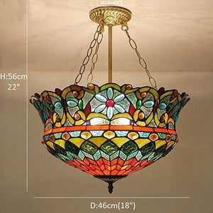 Flower shaped Stained Glass pendant lamp Downlight / Warm White