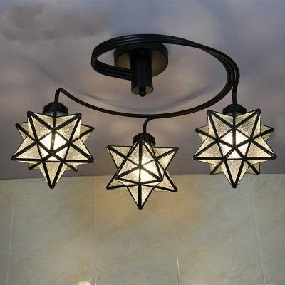 3 Head Tiffany Stained Glass Ceiling Light-Decorative Chandelier-Clear / Warm White-Khadiza Electricals