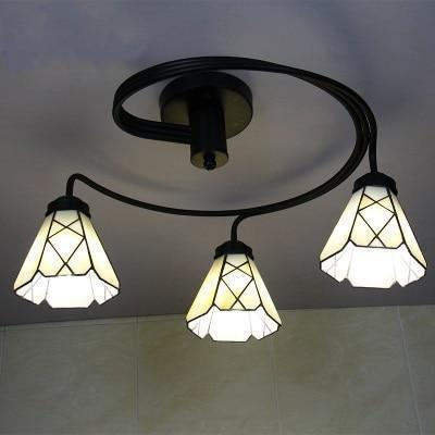 3 Head Tiffany Stained Glass Ceiling Light-Decorative Chandelier-Yellow / Warm White-Khadiza Electricals