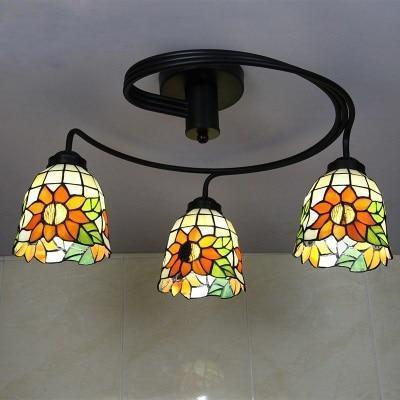 3 Head Tiffany Stained Glass Ceiling Light-Decorative Chandelier-Orange-Green-Yellow / Warm White-Khadiza Electricals