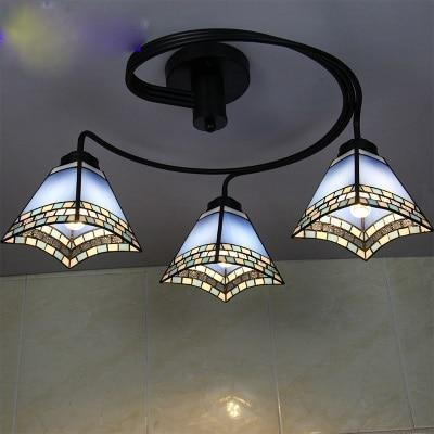 3 Head Tiffany Stained Glass Ceiling Light-Decorative Chandelier-Blue / Warm White-Khadiza Electricals