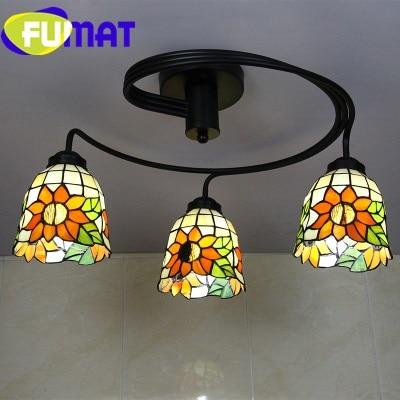 3 Head Tiffany Stained Glass Ceiling Light Green / Cold White