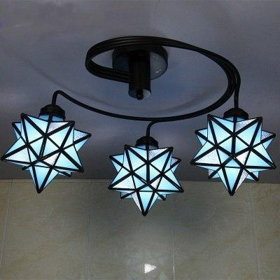 3 Head Tiffany Stained Glass Ceiling Light-Decorative Chandelier-Sky Blue / Warm White-Khadiza Electricals
