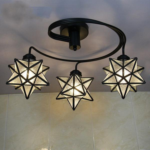 3 Head Tiffany Stained Glass Ceiling Light