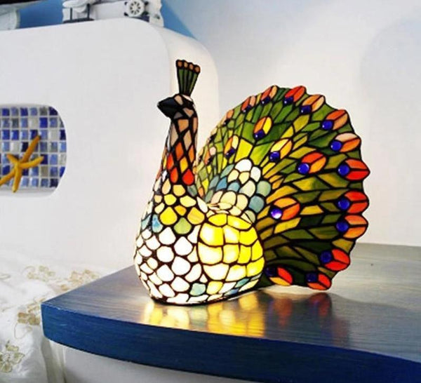 Peacock Stained Glass Table Lamp Table Decor Lamp