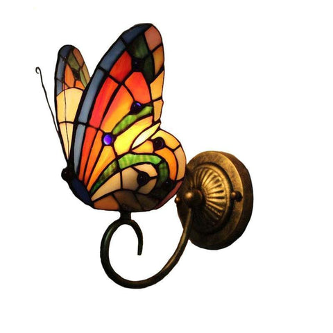One Butterfly Stained Glass Wall Lamp