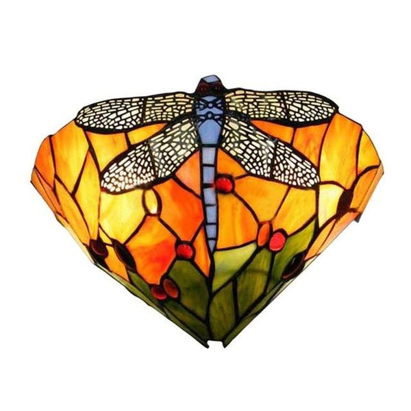 Dragonfly  Stained Glass Wall Lamp Green / China / 220V-240V,3000