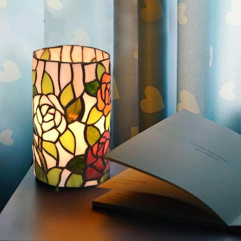 Rose Stained Glass Lustre Night Lamp Warm White / White