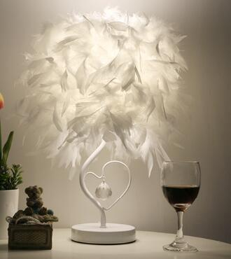 Attractive Feather Table Lamp Light for Reading Room Sitting Room (EU, US, UK, AU Plug)-Decorative Table Lamp-White / button switch-Khadiza Electricals