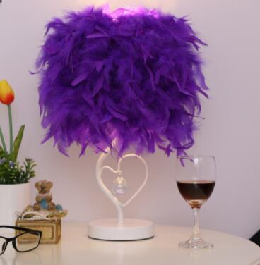 Attractive Feather Table Lamp Light for Reading Room Sitting Room (EU, US, UK, AU Plug)-Decorative Table Lamp-Purple / button switch-Khadiza Electricals