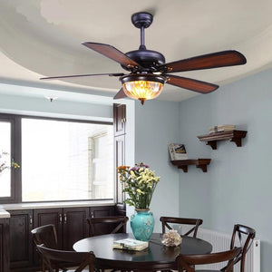 Glass Ceiling Fan With Glass LED Lampshade