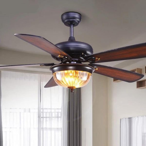 Glass Ceiling Fan With Glass LED Lampshade-Decorative Fan-[variant_title]-Khadiza Electricals