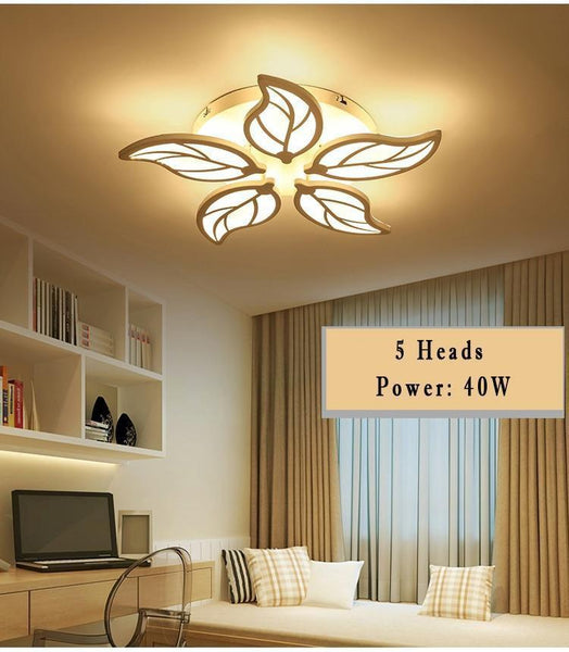 Leaf Styled Led Ceiling Chandelier with App Control-Decorative Chandelier-White / 5heads / Dimmable with remote-Khadiza Electricals