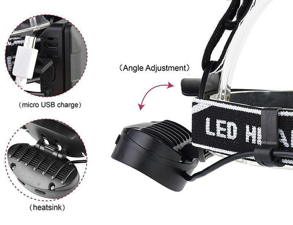 Rechargeable Headlight (4* T6 30000LM LED, 2x18650 battery, USB chargeable)-Flashlight/ Torch-[variant_title]-Khadiza Electricals
