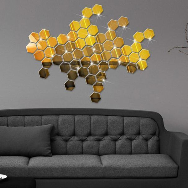 Mirror Hexagon Wall Sticker for  Home Decor(12Pcs)