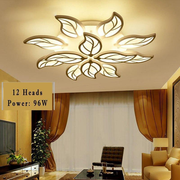 Leaf Styled Led Ceiling Chandelier with App Control-Decorative Chandelier-White / 12heads / Dimmable with remote-Khadiza Electricals
