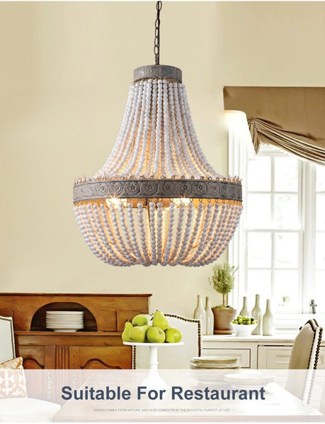 Vintage  Wooden Beads Pendant Lamp