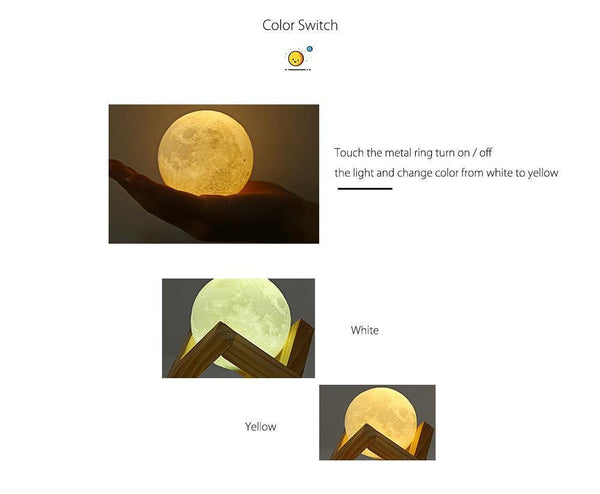 Rechargeable 3D Touch Switch Moon Lamp (2 Colors)-Decorative Night Lamp-[variant_title]-Khadiza Electricals