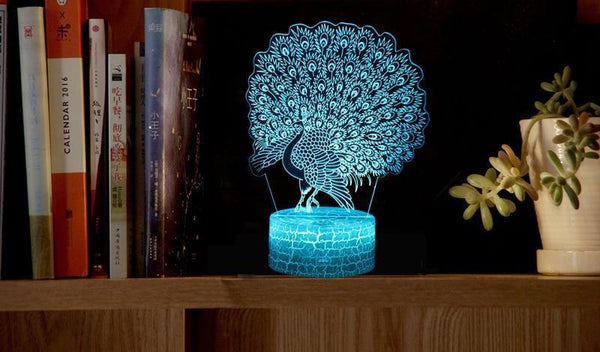 LED Peacock Night Lamp with Touch Switch and Seven Colors-Decorative Night Lamp-[variant_title]-Khadiza Electricals