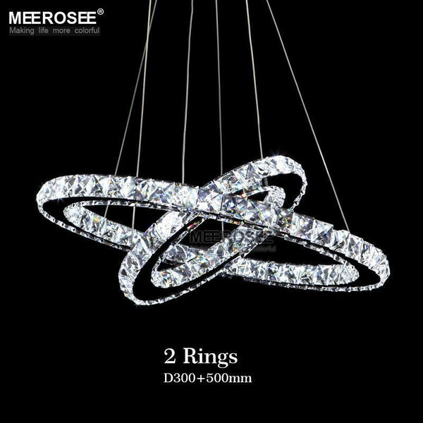 Crystal Circle Chandelier-Decorative Chandelier-2 Rings D50 D30cm / China / cool white light-Khadiza Electricals