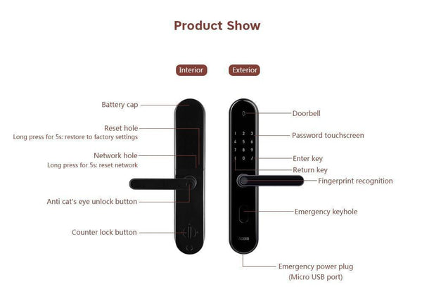 App Controlled Smart Door Lock with Fingerprint Scanner-Other Electrical Products-[variant_title]-Khadiza Electricals