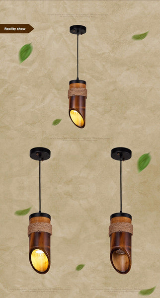 Stylish LED Pendant Lamp made of Hemp Rope and Bamboo-Decorative Pendant Lamp-[variant_title]-Khadiza Electricals