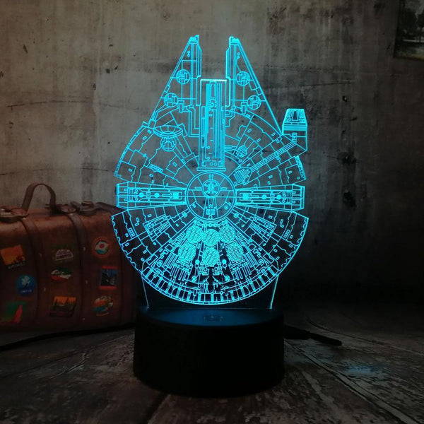 3D Millennium Falcon LED Night Light (7 Color Changing)-Decorative Night Lamp-[variant_title]-Khadiza Electricals